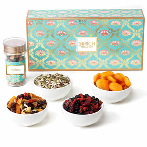 Supefoods Symphony Gift Hamper – Berry Mix, Seeds Mix, Trail Mix, Apricot, Nuts, Seeds, Berries Combo Pack (340 Gm)