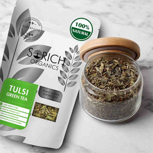 Sorich Organics Tulsi Green Tea - Detox Tea, Calming Tea, Relieves Anxiety and Stress 100 Gm