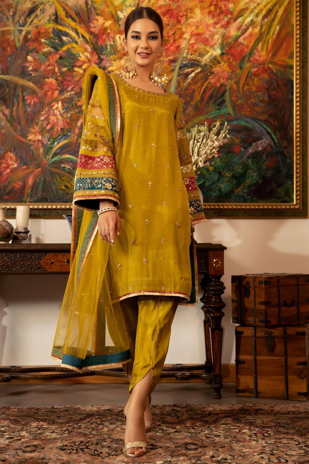 pakistani ready to wear raw silk dress