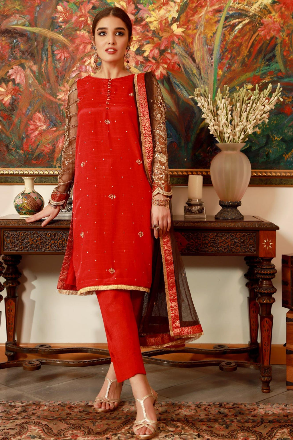 pakistan ready to wear raw silk dress