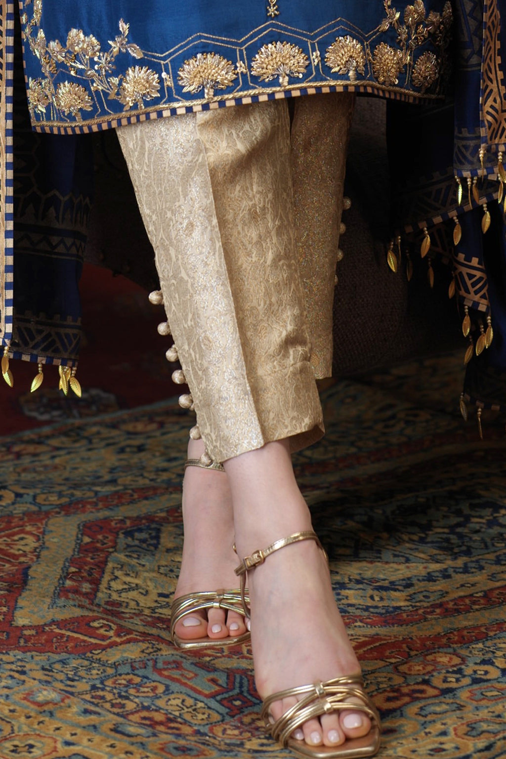 Eshal Gold Straight Button Pants