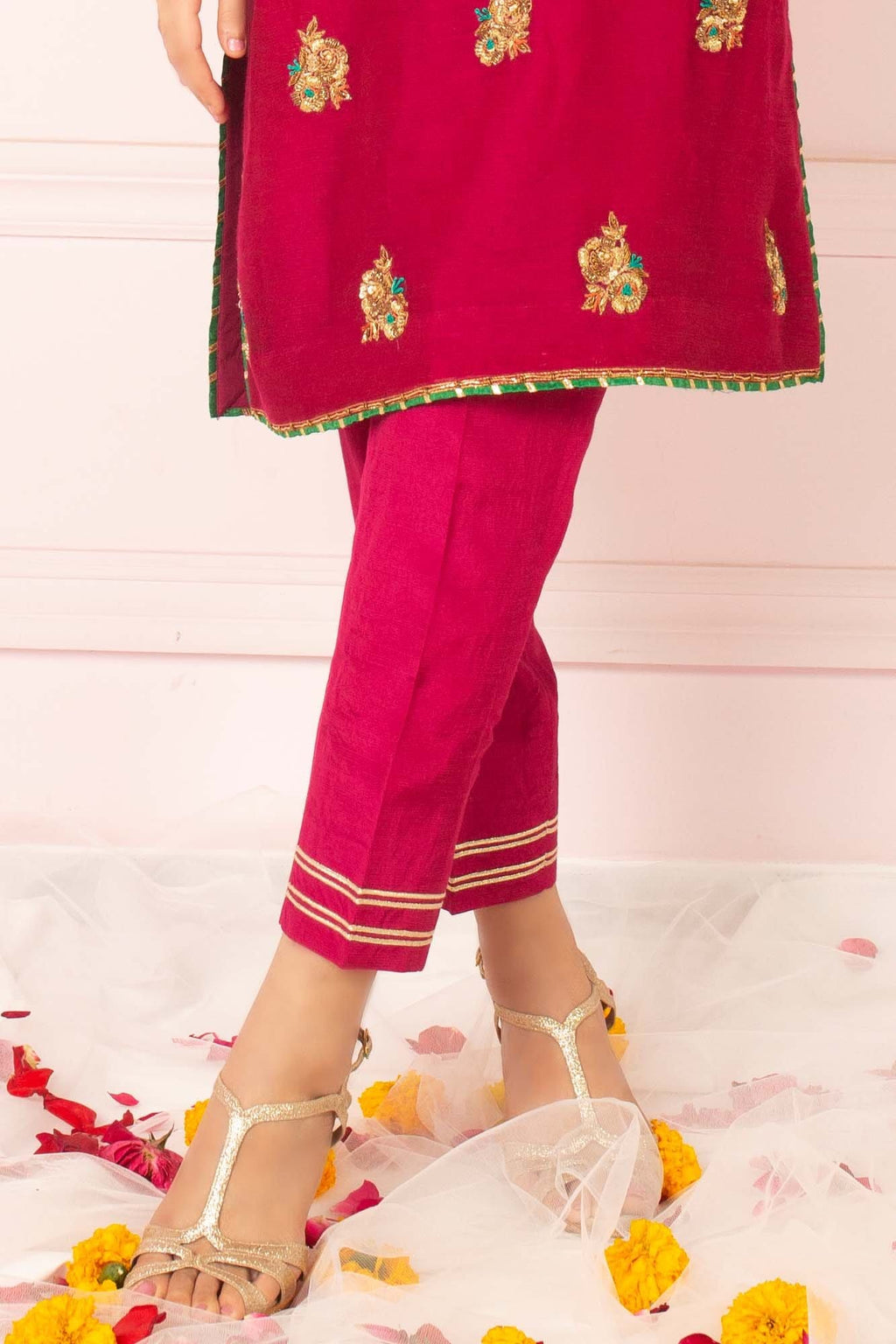 Magenta Raw Silk Trouser