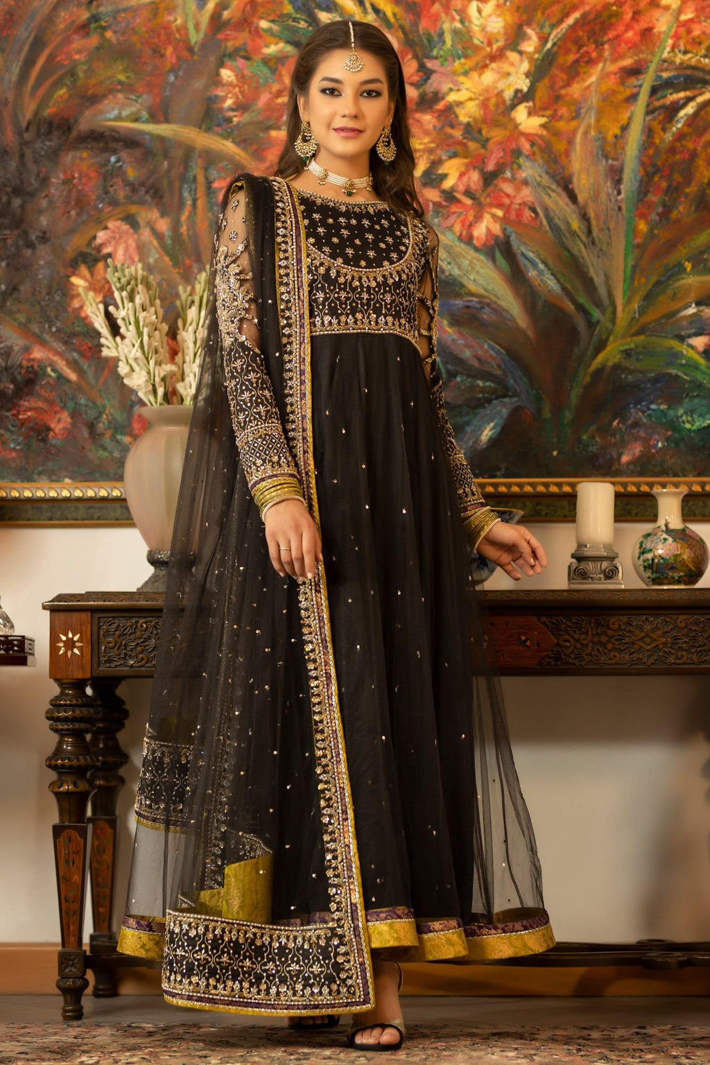 pakistani ready to wear net dress