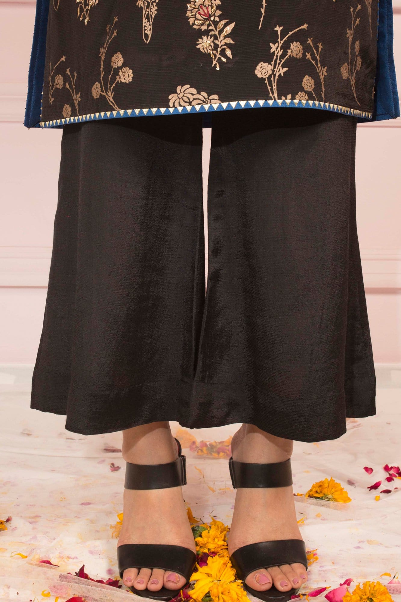 Black Raw Silk Culottes