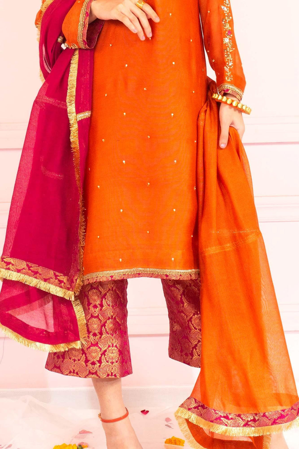 Orange & Pink Khaddi Net Dupatta