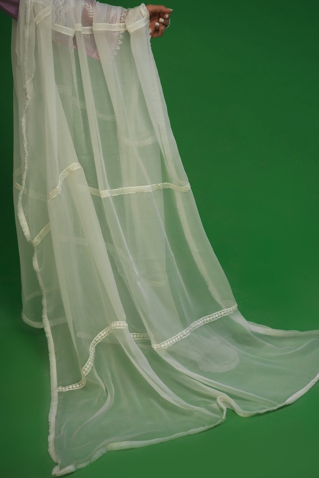 White Ladder Lace Chiffon Dupatta
