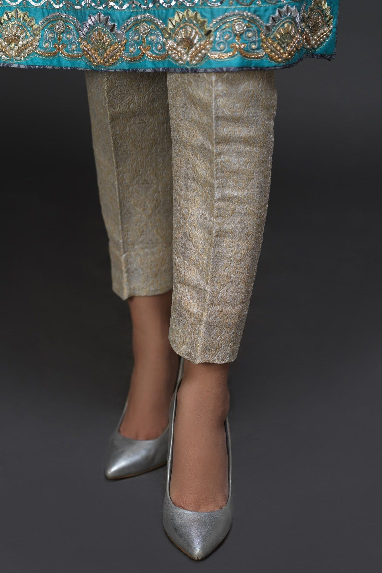 Silver Banarsi Straight Pants