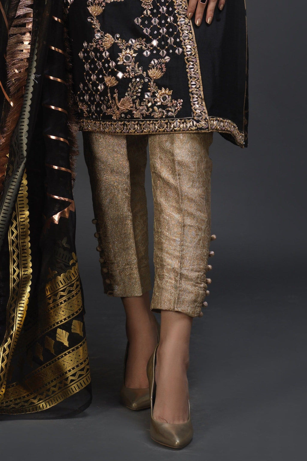 Golden Banarsi Button Pants