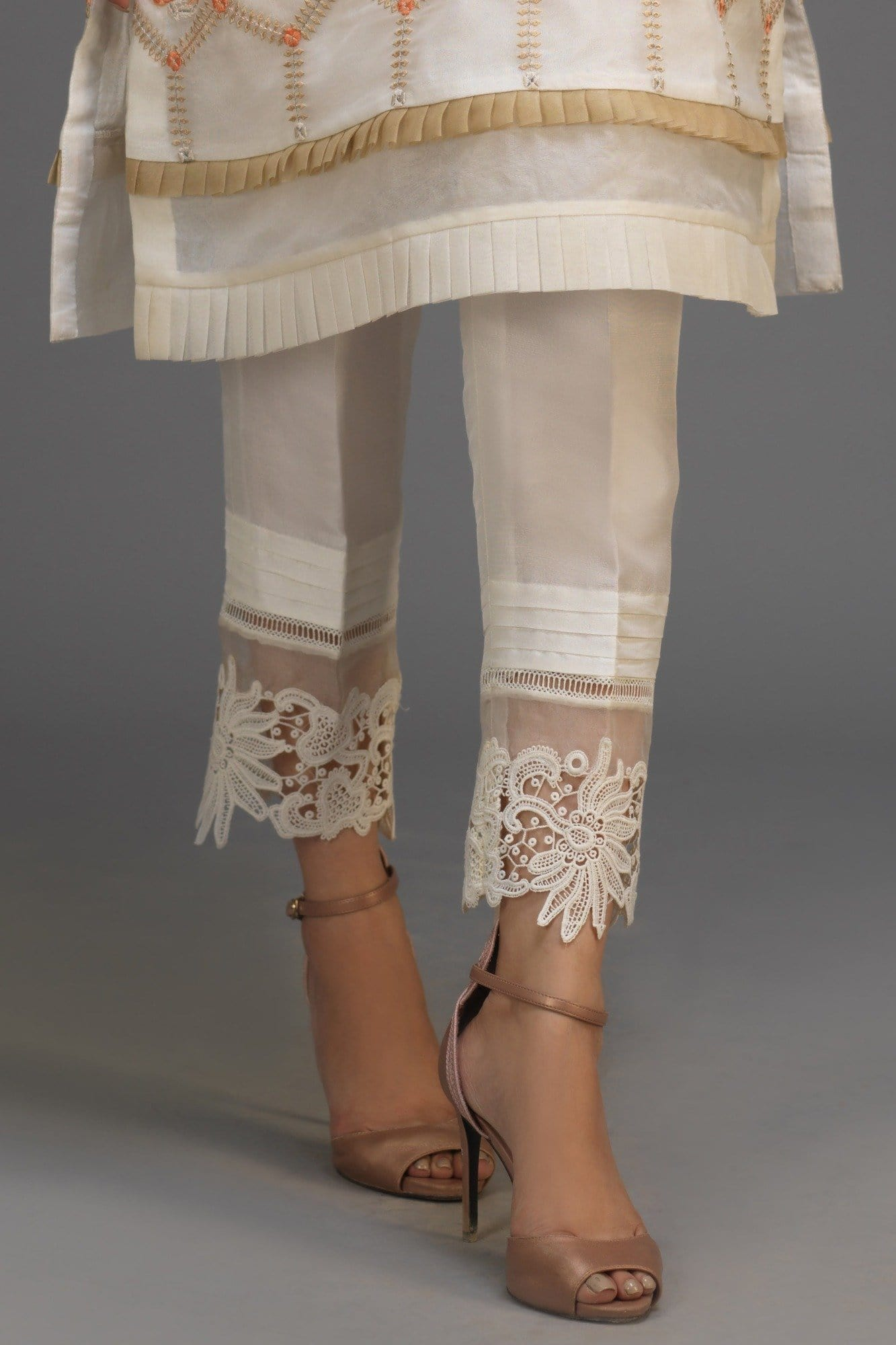Raw Silk Pleated Lace Pants