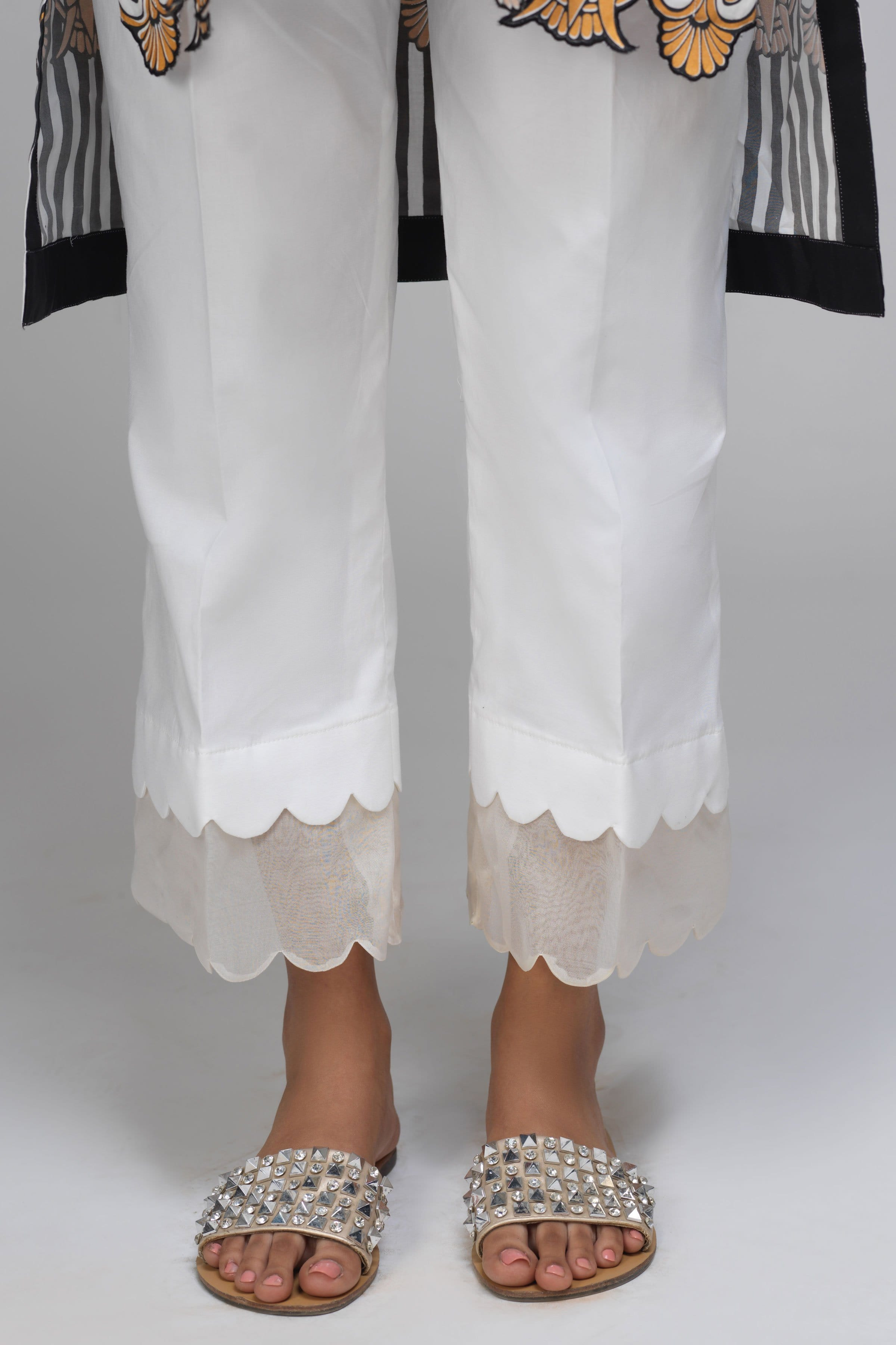 White Scallop Pants