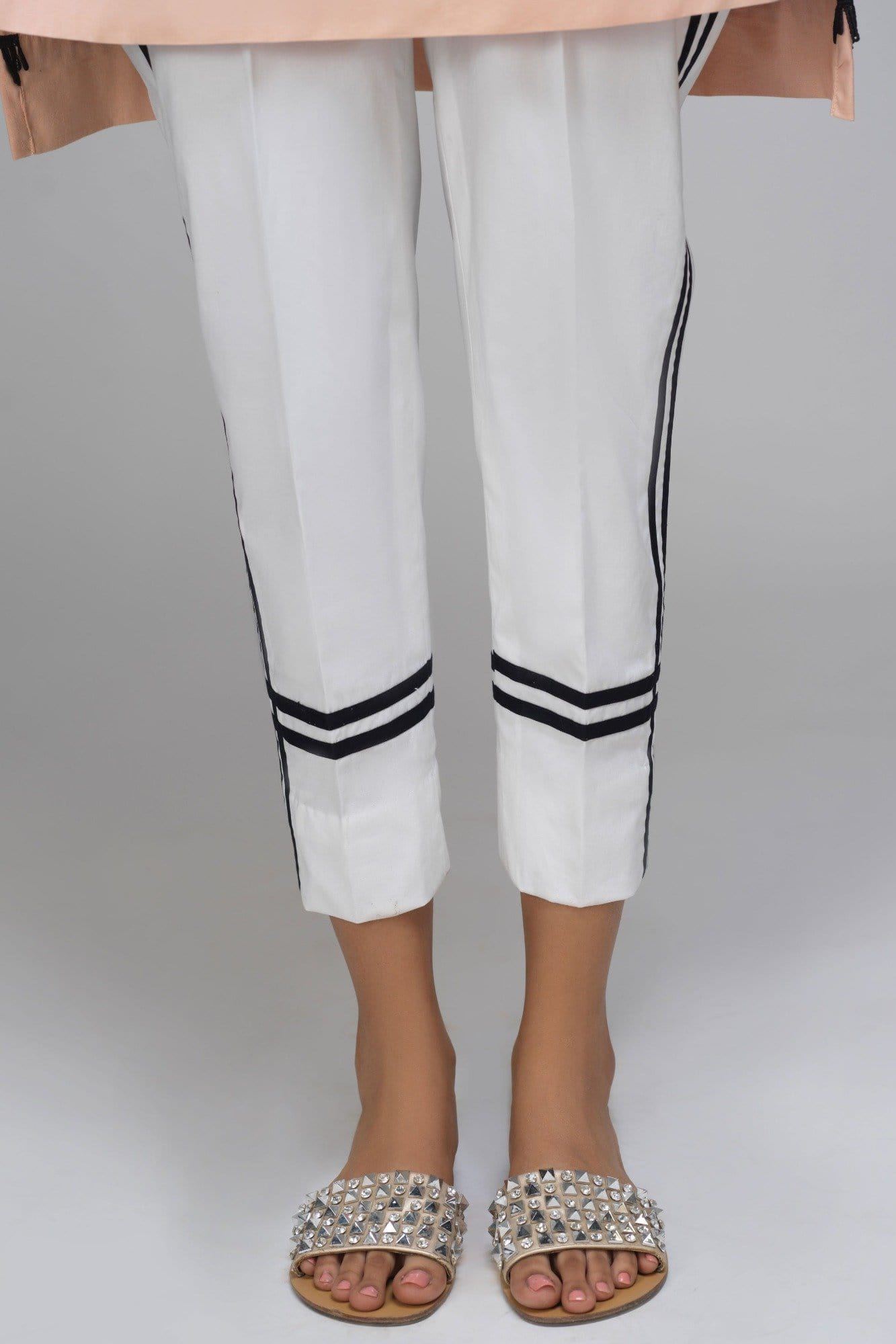 Stripe Black & White Cotton Pants