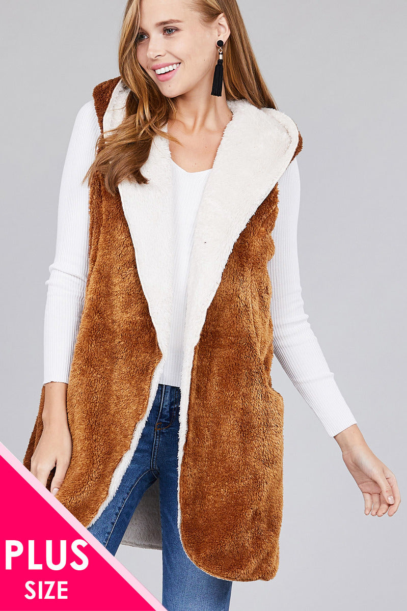 Open Front w/ Hoodie Faux Fur Soft Fluffy Vest (Plus)