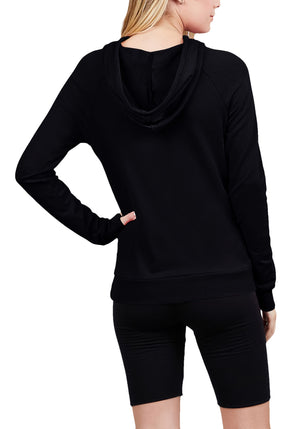 Long Sleeve French Terry Hoodie Top w/ Kangaroo Pocket