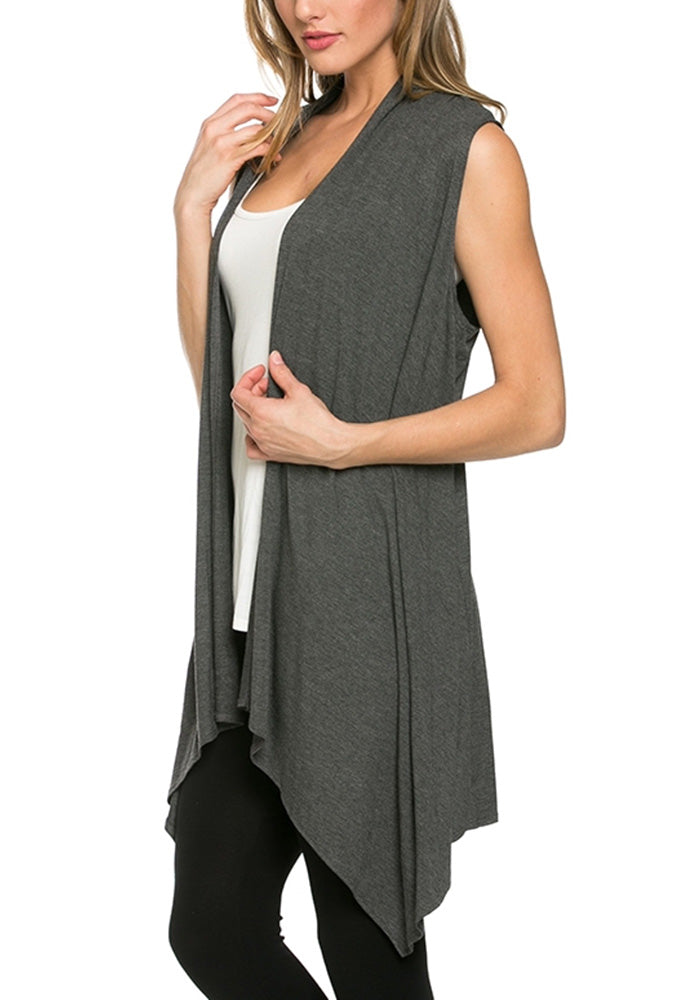 Asymmetric Sleeveless Open Front Cardigan Dressy Vest-1