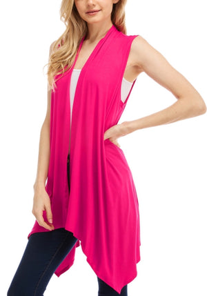 Open Front Asymmetric Hem Hi-Low Sleeveless Cardigan Casual Simple Stylish Vest