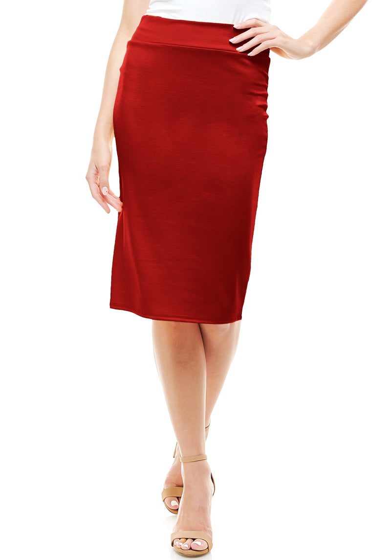High Waist Simple & Elegant Knee Length Fitted Pencil Skirt