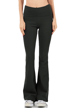 Foldover Contrast Waist Bootleg Flare Yoga Pants, Value-Pack Available