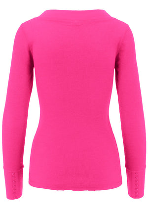 Basic Wideband Deep V-Neck Long Sleeve T-Shirt