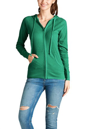 Basic Solid Long Sleeve Zip Up Hoodie Jacket Thermal (Plus)