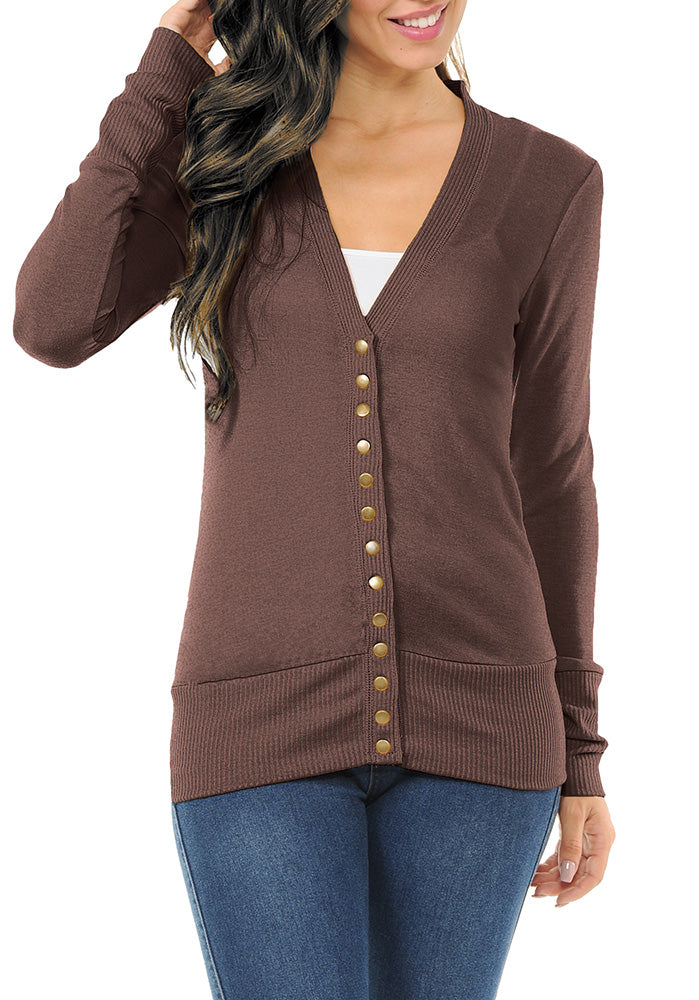 Long Sleeve Snap Button Sweater Cardigan-1 (Plus)