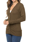 Long Sleeve Snap Button Sweater Cardigan w/ Ribbed Detail-1