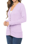 Long Sleeve Snap Button Sweater Cardigan w/ Ribbed Detail-2