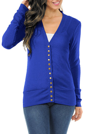 Long Sleeve Snap Button Sweater Cardigan w/ Ribbed Detail-3