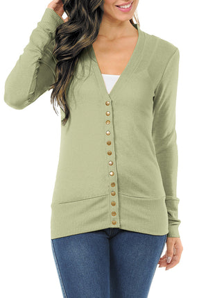 Long Sleeve Snap Button Sweater Cardigan-2 (Plus)