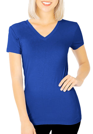 Basic Cotton V-Neck Short Sleeve Tee-1