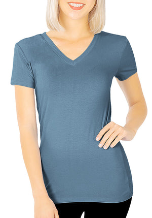 Basic Cotton V-Neck Short Sleeve Tee-2