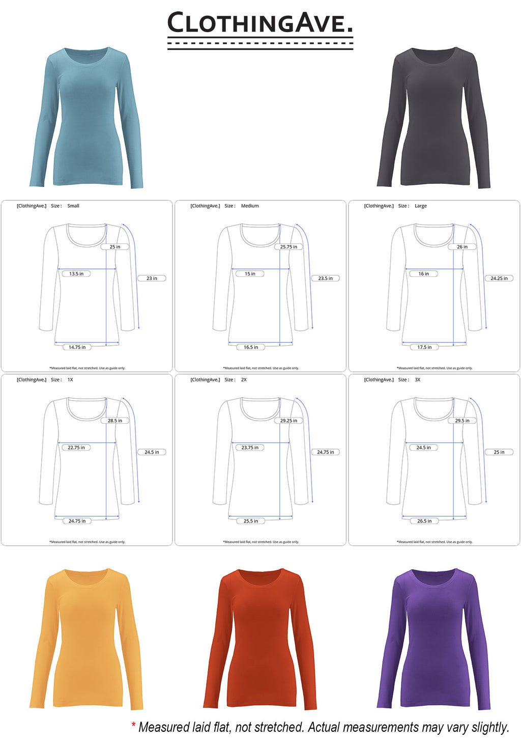Cotton Long Sleeve Round Neck Top (Multipack)