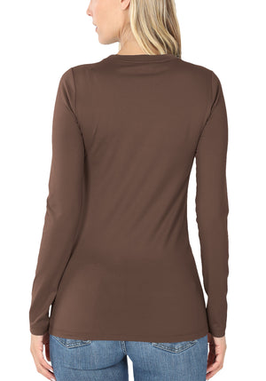 Cotton Long Sleeve Round Neck Top