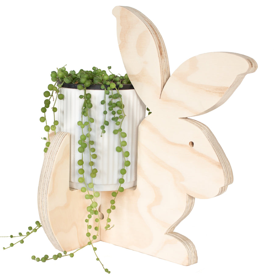 wooden bunny holder with pearls