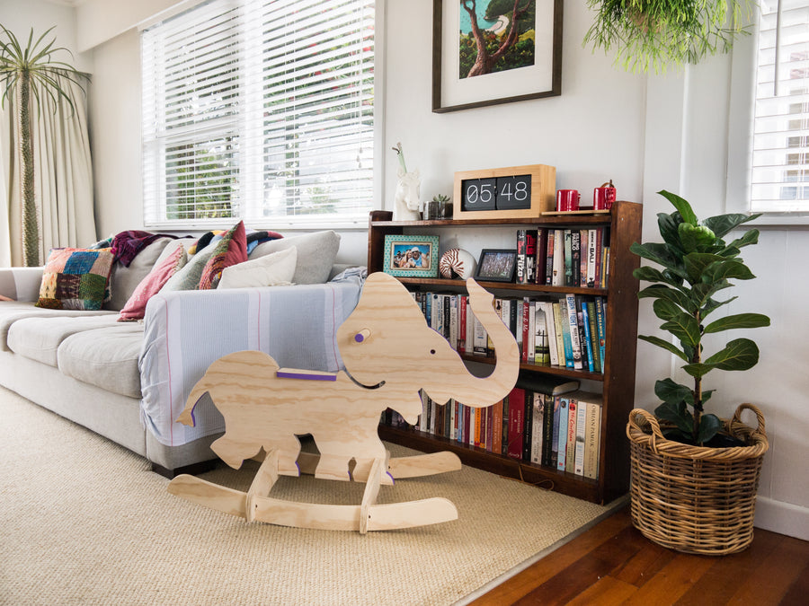 plywood rocking elephant in lounge room