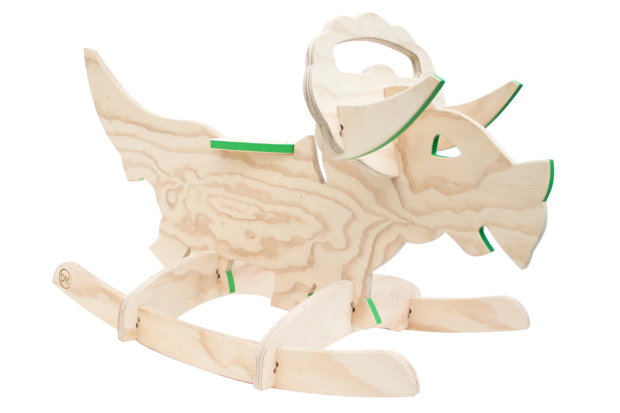 wooden rocking triceratops green