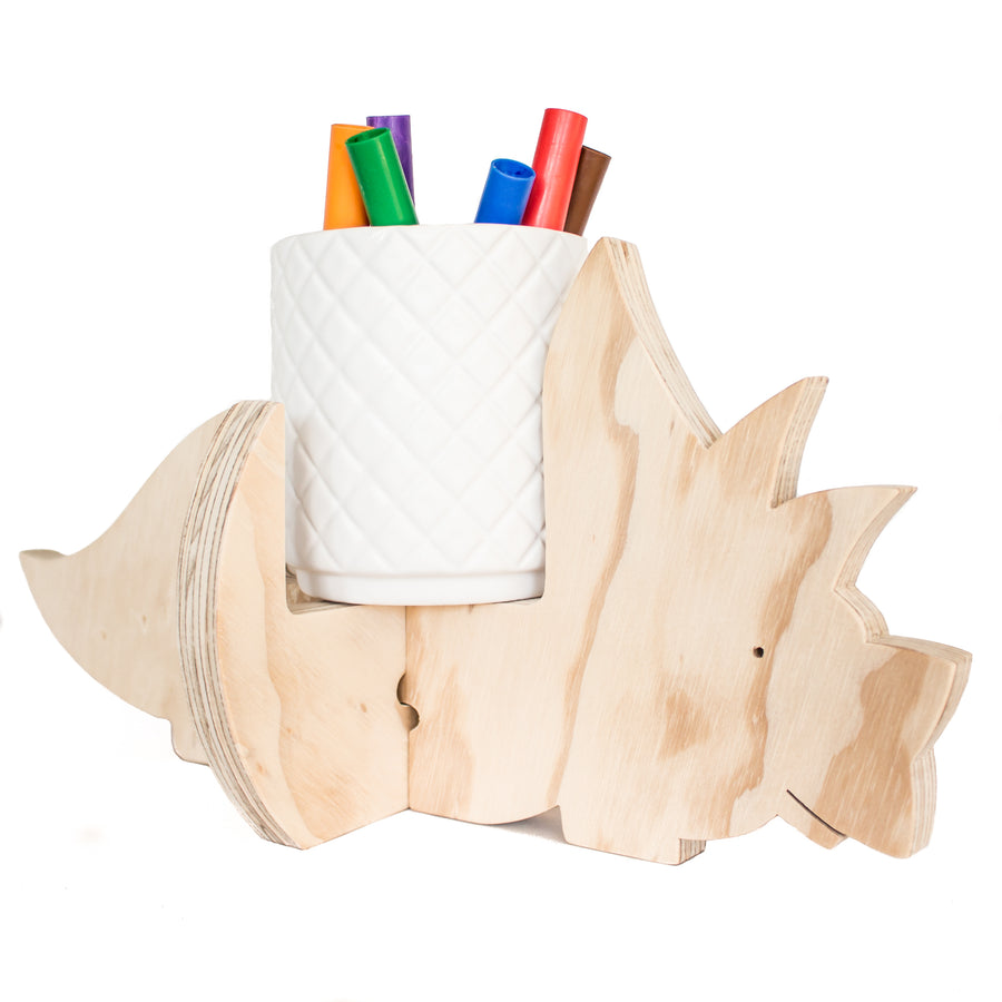 Triceratops holder with pens