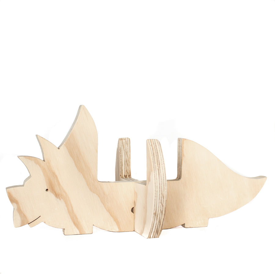 Triceratops wooden plant holder