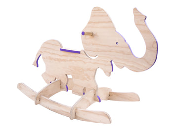 plywood rocking purple elephant