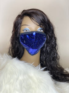 Blue Sequins Mask