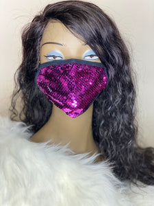 Purple Sequins Mask