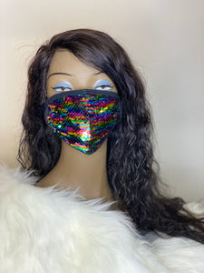 Multicolor Sequins Mask