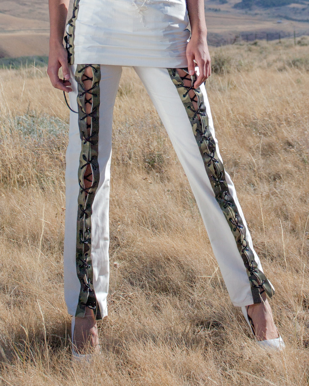 Lace front leather and rayon pant