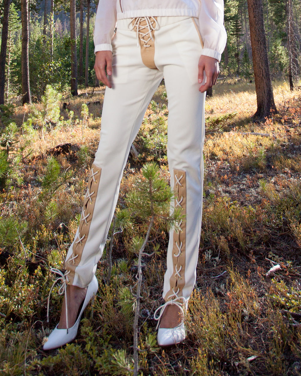 Lace-to-knee elkskin and rayon jogger