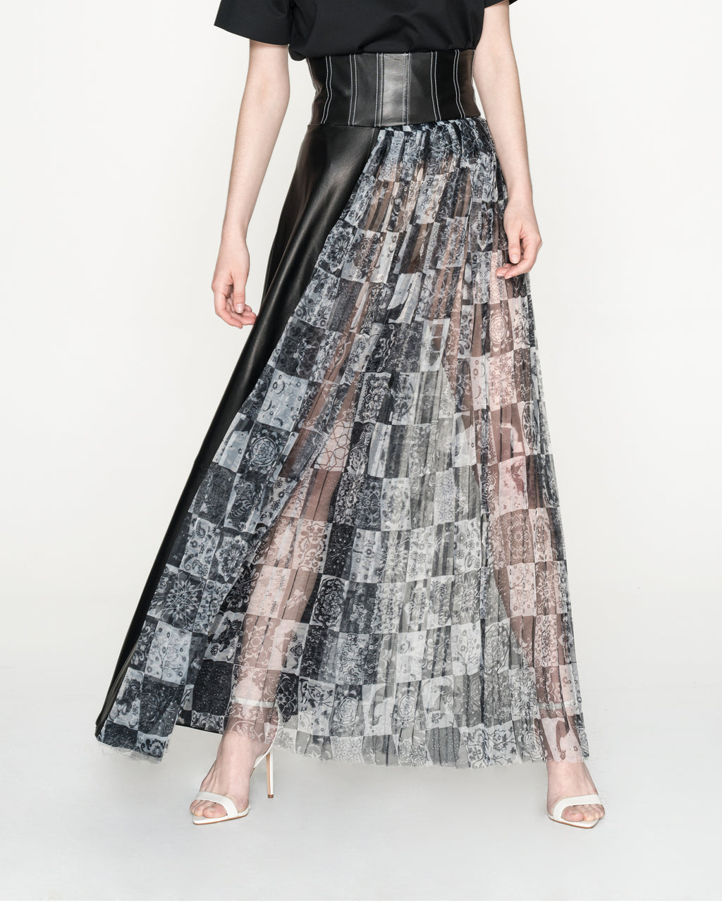 Patched Leather and Pleated Print Skirt