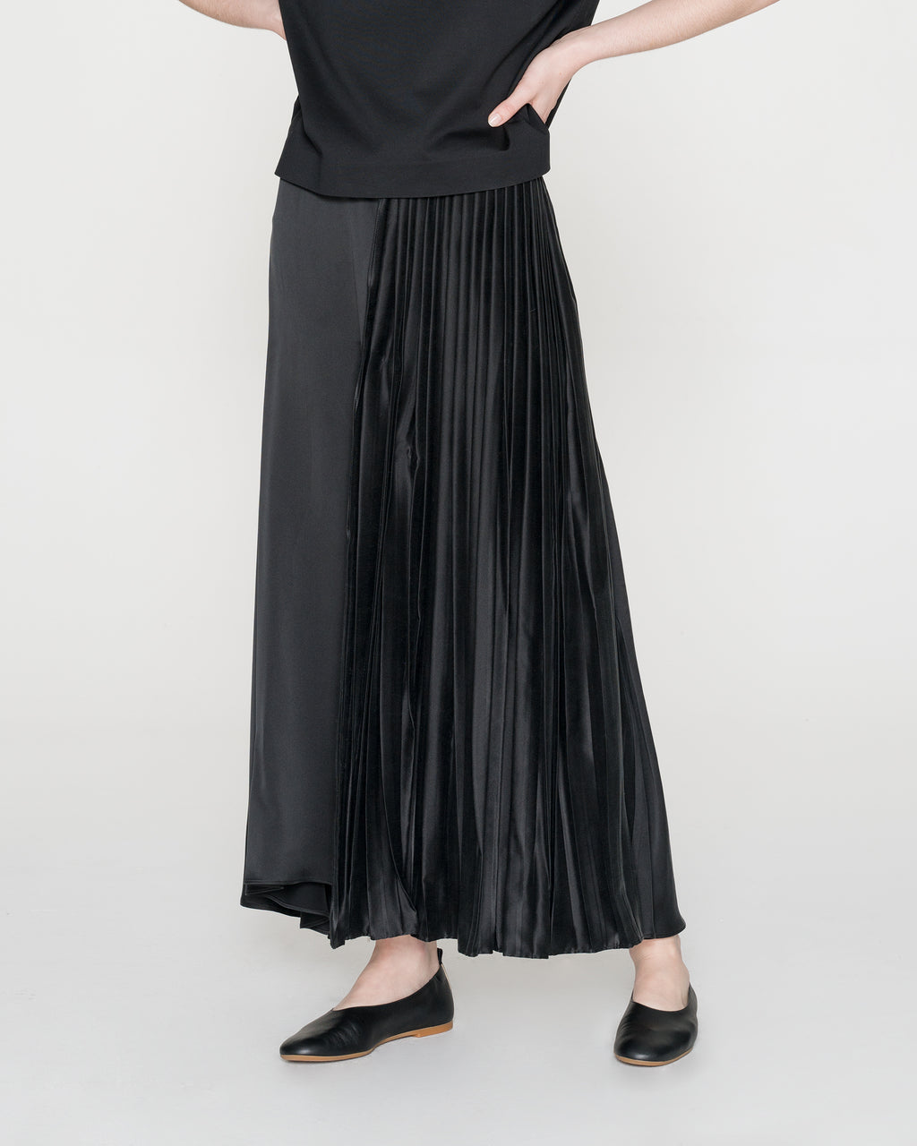 Silk Patch and Pleated Leather Skirt