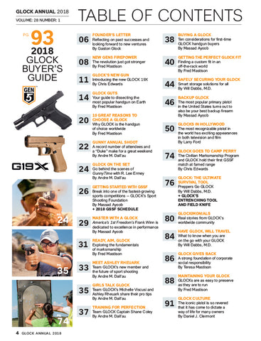 2018 glock annual magazine table of contents