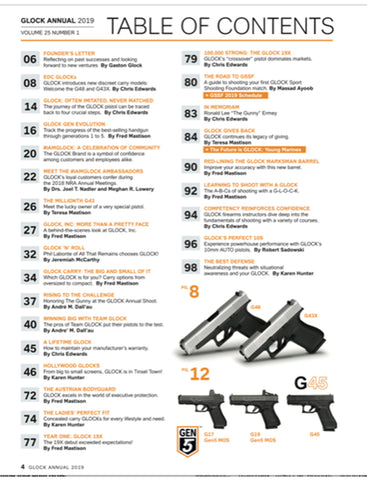2019 Glock annual magazine table of contents
