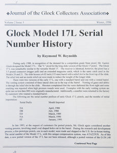 Reprint copy of Journal of Glock Collectors Association Volume 2, Issue 3