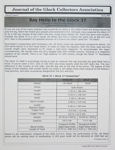 Glock Club Newsletter Volume 9, Issue 2 reprint