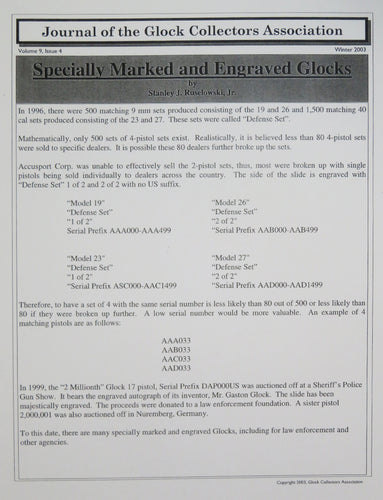 Glock Club newsletter volume 9, issue 4 reprint